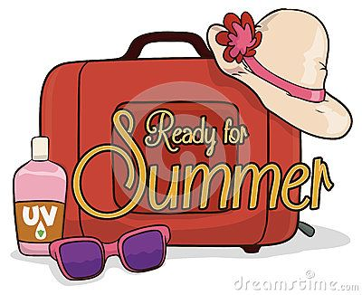 Woman kit for summer vacations with a suitcase, hat, sunglasses and UV sunscreen lotion.