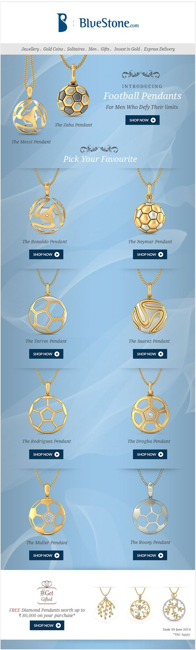 3D football pendant designs in India http://www.bluestone.com/jewellery/football-pendants.html