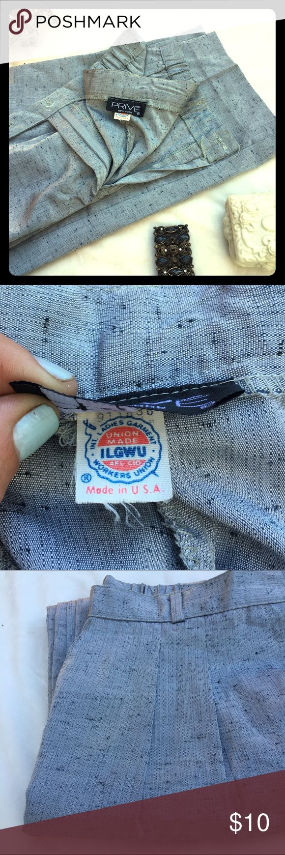 """Pleated Vintage 💌 Vintage pleated slacks made in the USA🇺🇸 by members of the Ladies Garment Workers Union. No size tag. My guess ladies size 14 or 14 petite. Inseam 27"""". More measurements upon request. PRIVE New York Pants"""