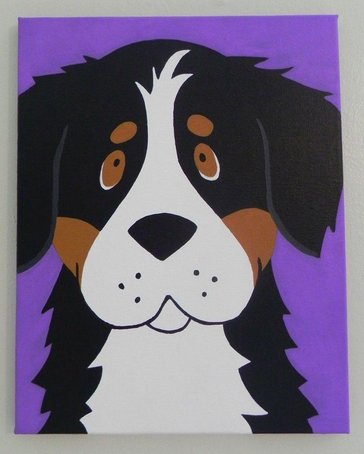11x14 Cute Bernese Mountain Dog Cartoon Dog Painting - Original Berner Canvas Art. $60.00, via Etsy.