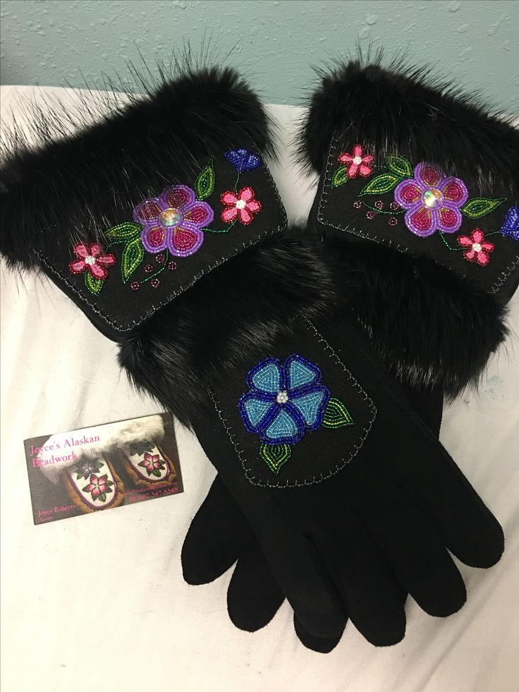 Gauntlet gloves made by Joyce and Tyrese Roberts from Eagle, AK.