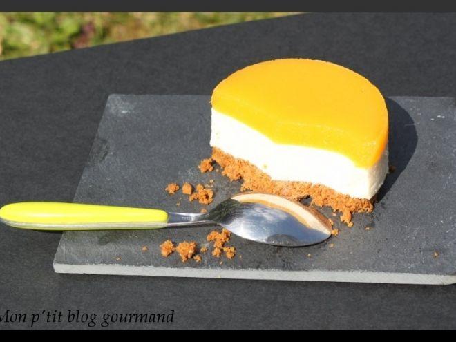 Panna cotta citron vert et gingembre sur un sablé croquant au spéculoos et miroir de mangue