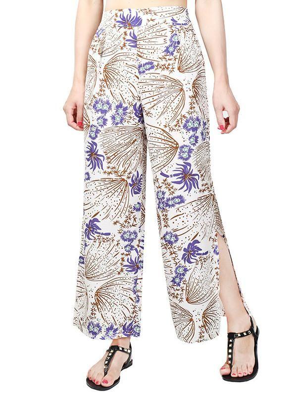 Pretty Chiffon Floral Split-side Wide Leg Long Pant – oshoplive