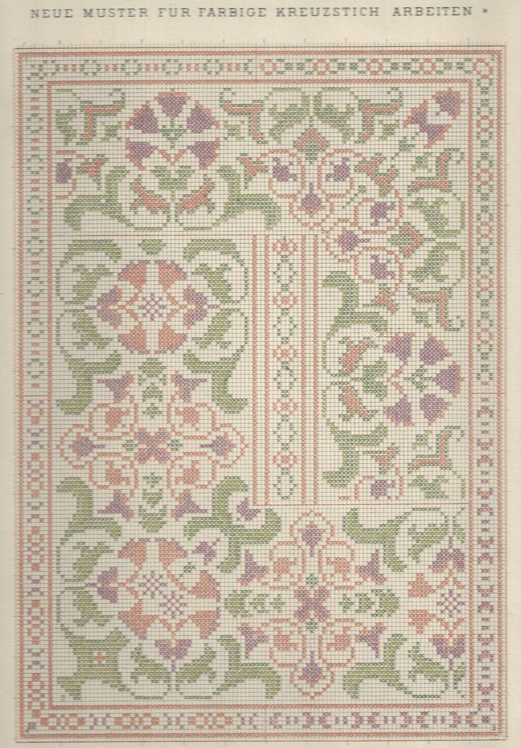 1 / Blatt 17 - Neue Muster-Vorlagen Fur Farbige Kreuzstich-Arbeiten - A. Scheffers - Published by J. M. Gebhardt's Verlag, Leopold Gebhardt, 1887