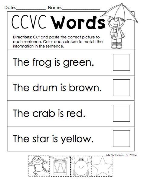 All Worksheets » Ccvc Worksheets