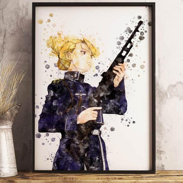 Watercolor Riza Hawkeye Anime Poster Anime Poster Anime Art Dorm Wall Decor Otaku Gift In 2020 Anime Anime Wallpaper Otaku Gift
