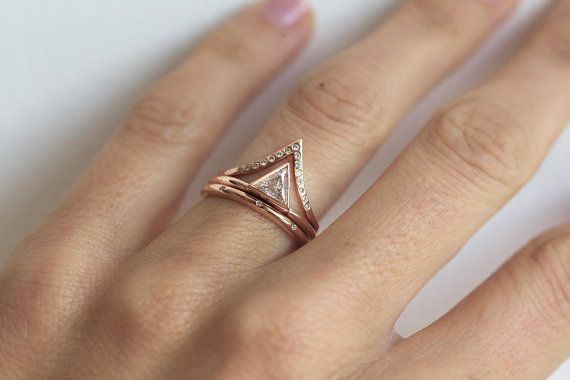 0.5 carat triangle diamond engagement ring with eternity diamond band. Diamonds go all around the band. PRICE IS FOR 2 rings - trillion one and classic