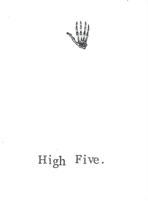 High Five Card Funny Skeleton Anatomy Medical Humor Greeting Thank You Congratulations Gothic Geekery Teen Pun Novelty Gag Hand For Him Men