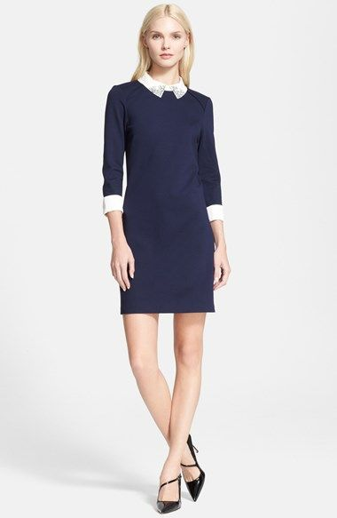 Ted Baker London 'Eelah' Embellished Collar Shift Dress available at #Nordstrom. (Different shoes!!!)
