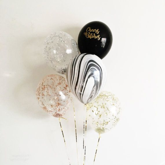 Cheers Bitches Metallic Confetti Balloons gold rose gold silver black white marble - Set of 5 - New Years Eve 2017 NYE | Free Shipping