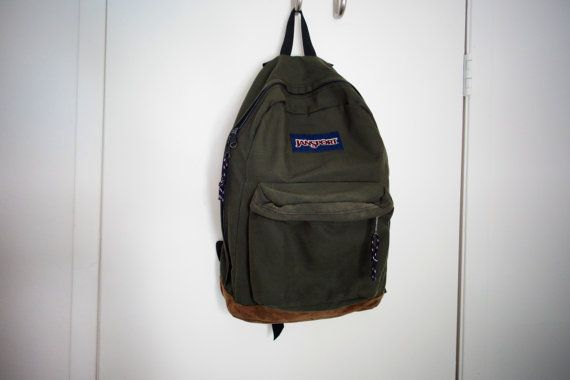 Classic Old School Jansport Olive Green Canvas Suede Leather ...