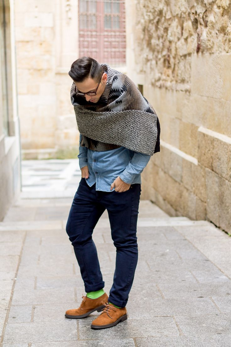 Mens Blanket Scarf - Jeffrey Herrero love the idea of the scarf but would change the clothes