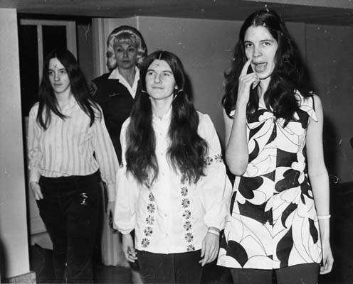 Manson family members Susan Atkins, Leslie Van Houten and Patricia Krenwinkel on March 24, 1971, with x's on their foreheads.