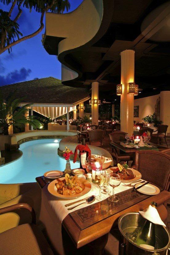 Romantic Pool Side Beautiful Like Pool Lights And Walk