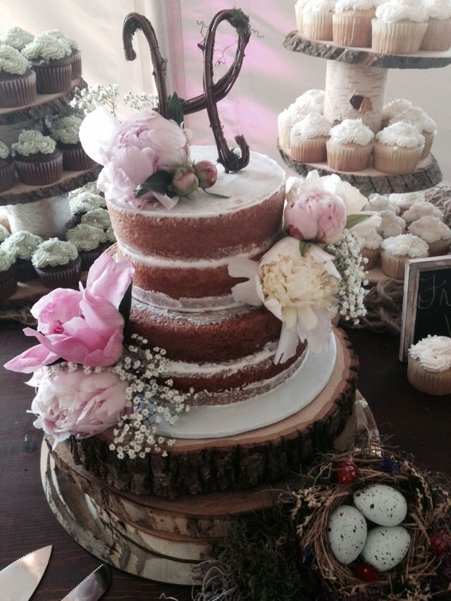 shabby chic bridal shower cakes%0A Shabby chic  rustic elegance  romantic  naked wedding cake  Beautiful for a  vintage