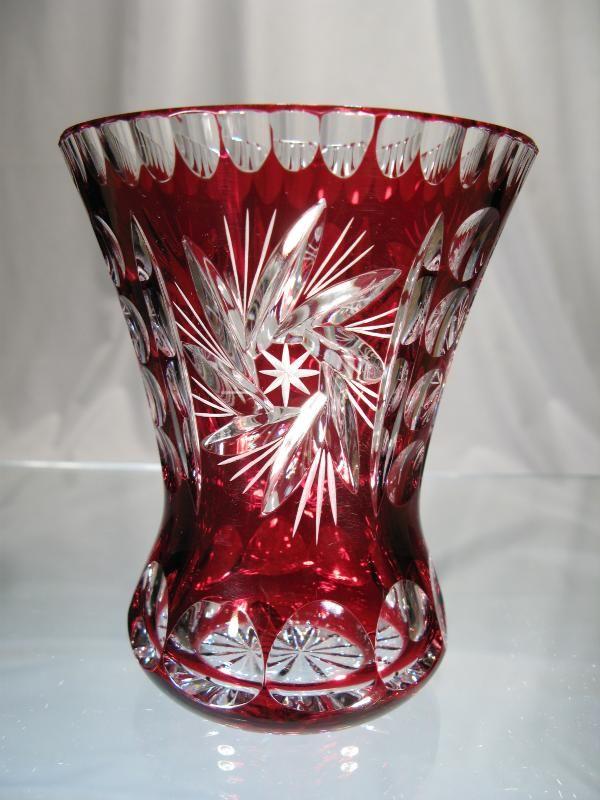 Vase Cristal Rouge - Vase rouge cristal - vase cristal boheme taille