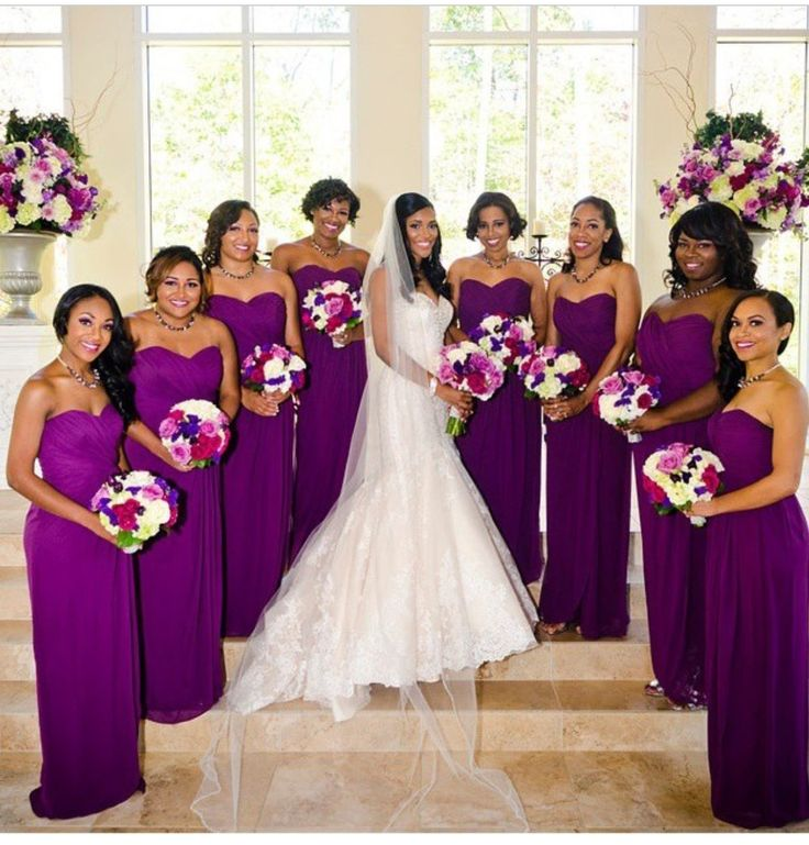 Radiant orchid bridesmaid dresses. love the shade of purple ...