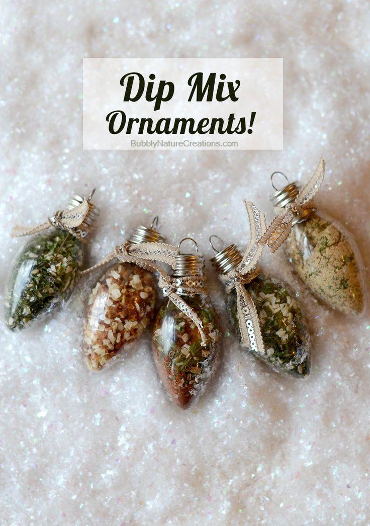 Dip Mix Ornaments! Each Ornament holds spices that when mixed with sour cream become yummy dips!!! Great gift idea!