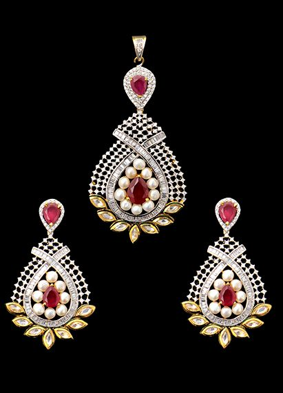 Vilandi pendant set with american diamonds and ruby stones