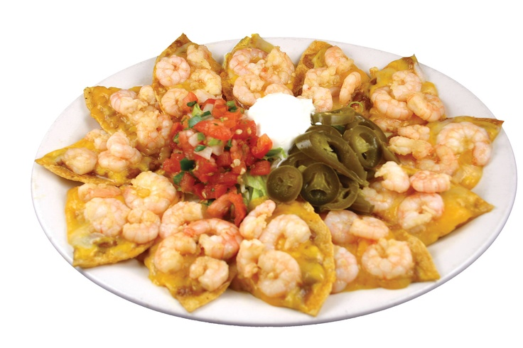 Nachos de Camarón -Favoritos por mas de 15 años. Sauteed shrimp with garlic and butter. Favorite for more that 15 yrs.