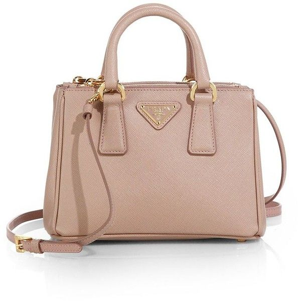 Prada Saffiano Lux Mini Satchel (48,385 DOP) ❤ liked on Polyvore featuring bags, handbags, apparel & accessories, satchel purse, leather purse, brown satchel handbag, brown leather purse and prada handbags