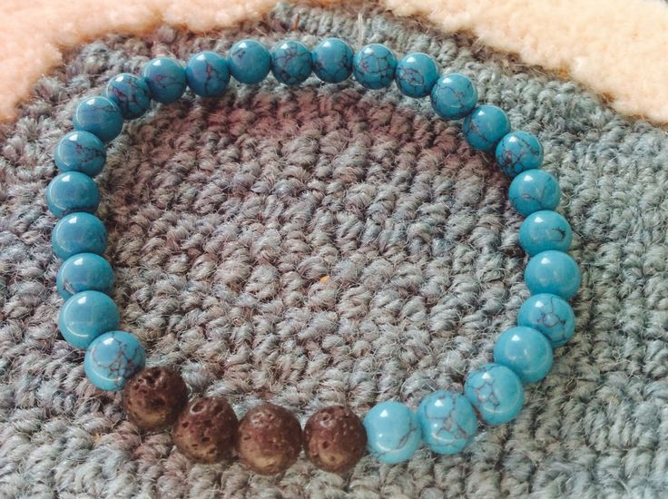 Aromatherapy lava bead diffuser bracelet for essential oils-6mm turquoise beads by MickandNick on Etsy