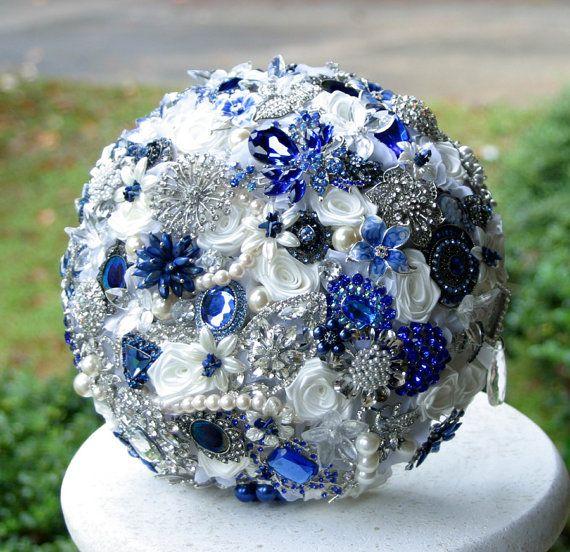 Royal blue Wedding Brooch Bouquet. Deposit on a made to order Heirloom Bridal Broach Bouquet.