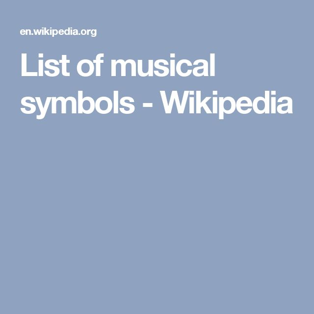 List of musical symbols - Wikipedia