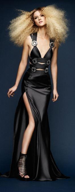 Atelier Versace Spring 2010 Lookbook: Kasia Struss in a Black Dress with Big Hair & High Heels