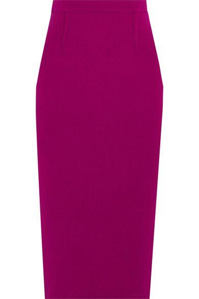 Roland Mouret - Arreton Wool-crepe Pencil Skirt - Purple - UK12