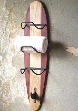 Surfers Beach Wooden Towel Rack.
