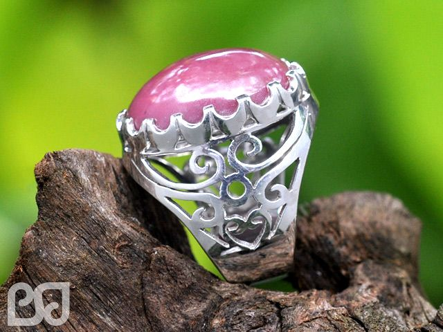 Silver Ring with Red Borneo Stone