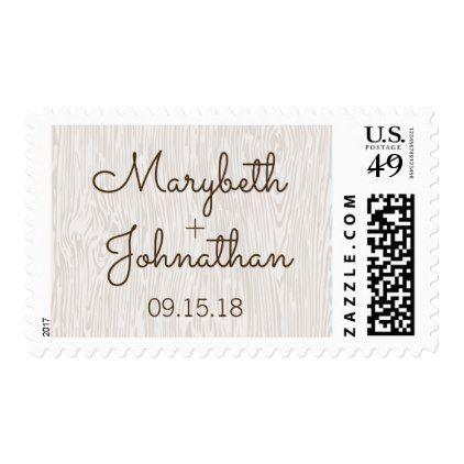 Modern Rustic Woodgrain Wedding Postage Stamp - monogram gifts unique design style monogrammed diy cyo customize