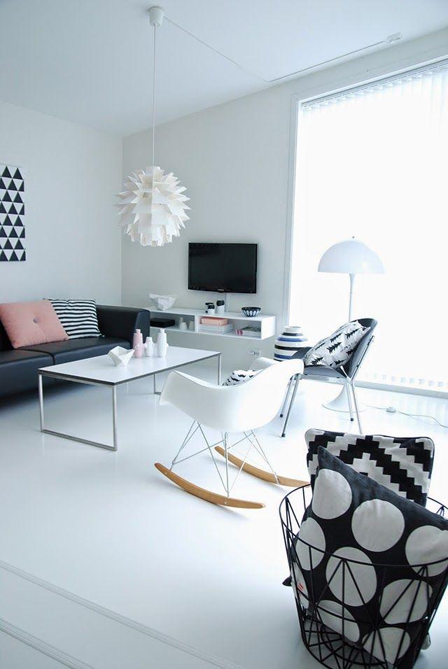 casa de estilo nordico con elementos de diseño combinados con low cost inspiracion black & white para coger ideas