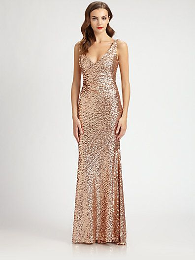 YES! This is it! Rose Gold! too bad its prob too expensice... :( -LB   Mark + James by Badgley Mischka - Sequined Gown