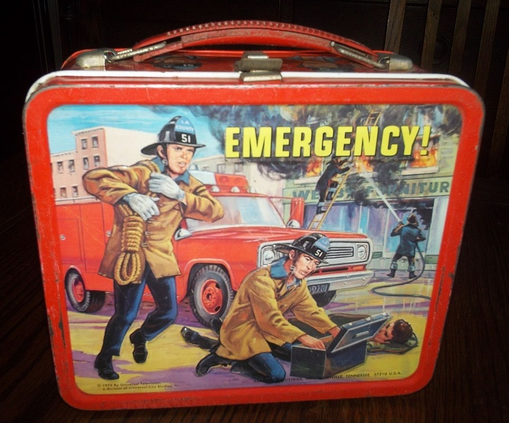 Emergency! Antique Lunch Box  (1973 TV Show, Antique Aladdin Metal Lunchbox With Thermos, Emergency)