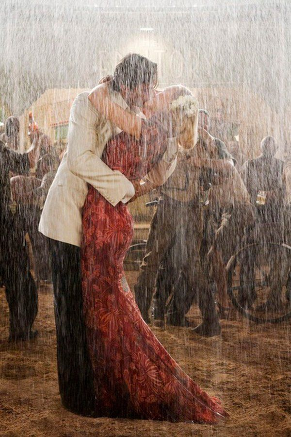 Dancing and kissing in the rain!