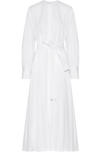 WHIMSICAL WHITES: For the Row's Spring '17 show, models glided down the winding staircase of the brand's Upper East Side boutique. This maxi dress is cut from cotton-poplin that's lightly pleated and has a belt to define your waist. Contrast the white hue with black slippers.