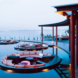 Floating lounge area right beyond the lobby at #W Retreat in, #Koh Samui, Thailand.  ASPEN CREEK TRAVEL - karen@aspencreektravel.com