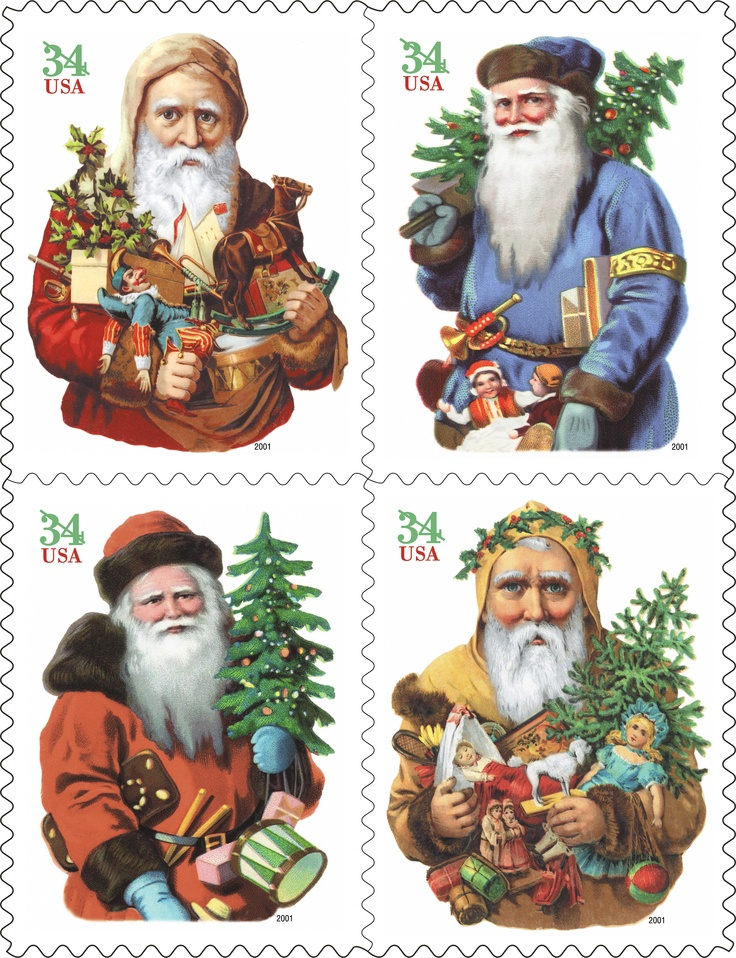 The images of Santa Claus on this set of four 2001 Christmas stamps come from 100-year-old chromolithographs. We love their vintage look! How about you?
