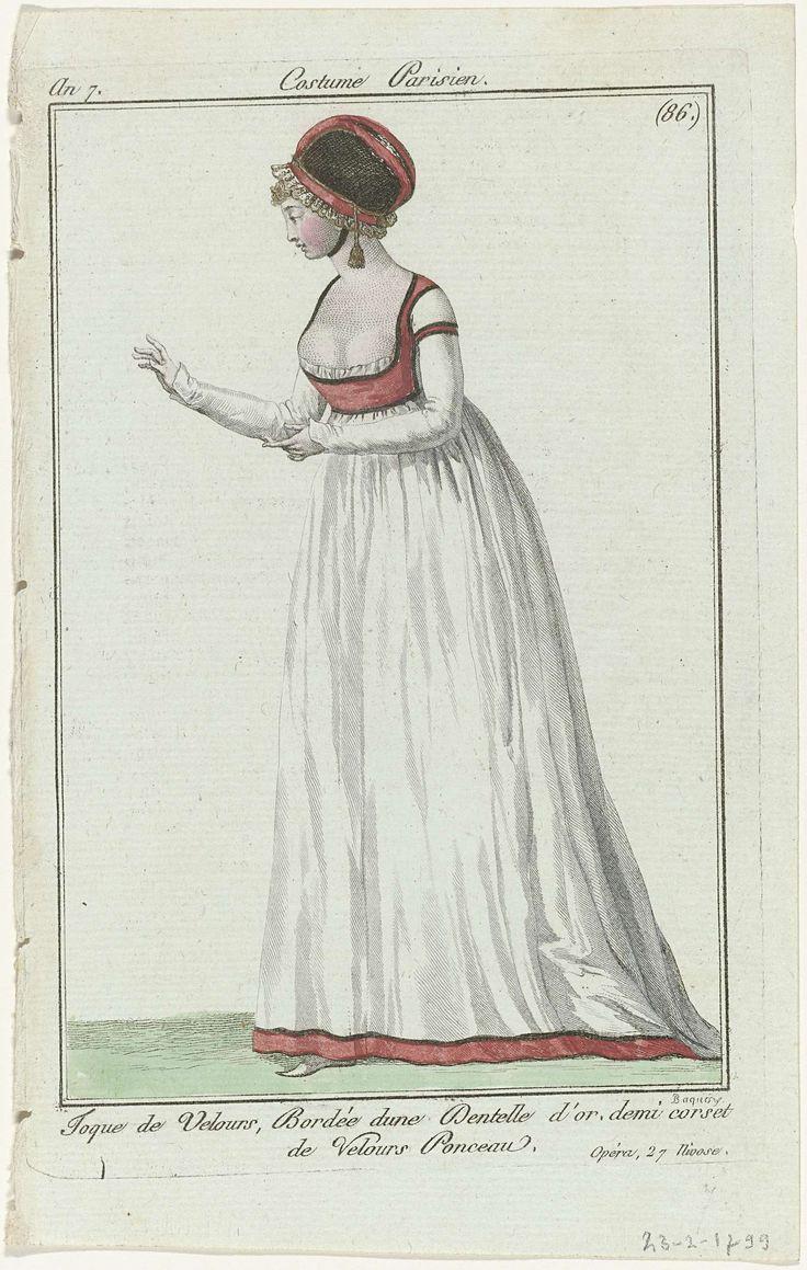 Journal des Dames et des Modes, Costume Parisien, 24 janvier 1799,  An 7 (86) : Toque de Velours..., Pierre Charles Baquoy, Sellèque, Pierre de la Mésangère, 1799