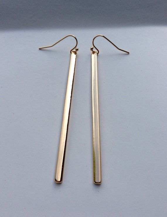 Minimalist Gold Bar Earrings Simple Gold Earrings by ByAvaMonroe