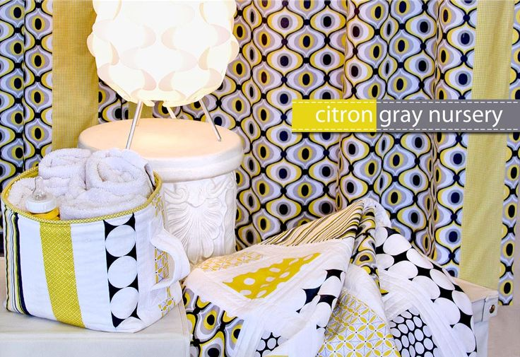 nursery series: fabric storage baskets at https://sew4home.com/projects/storage-solutions/michael-miller-fabrics-citron-gray-nursery-fabric-storage-basket