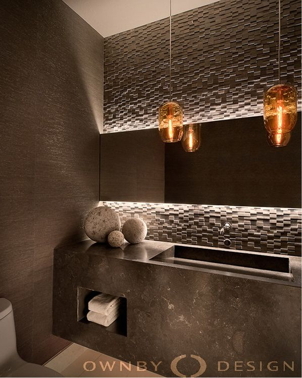 Amazing Modern Interior In Warm Colors. Powder Room DesignBathroom LightingPowder  ...