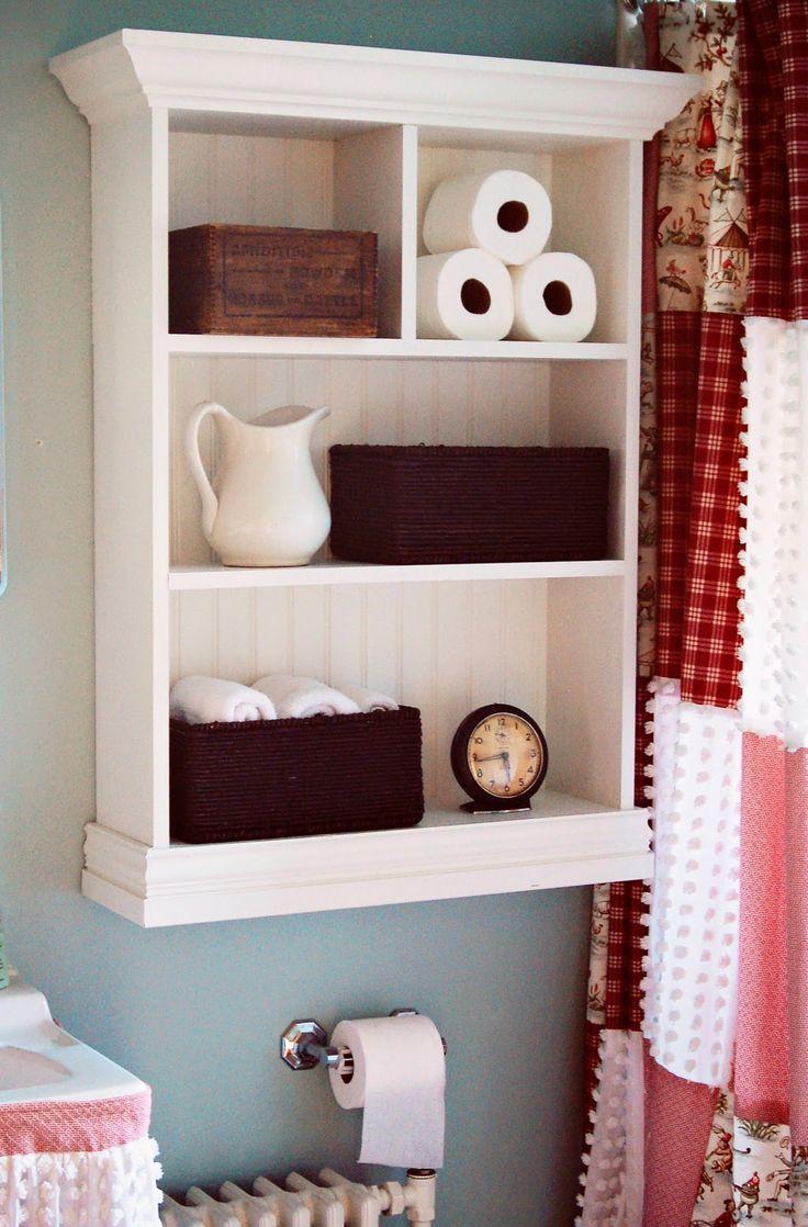 Great bathroom shelf idea, the curtains are cute.......could be a shower curtain idea too.