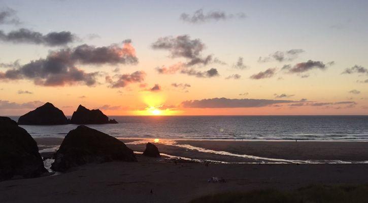 A beautiful evening watching the sunset on Holywell Bay Beach, Newquay Cornwall.