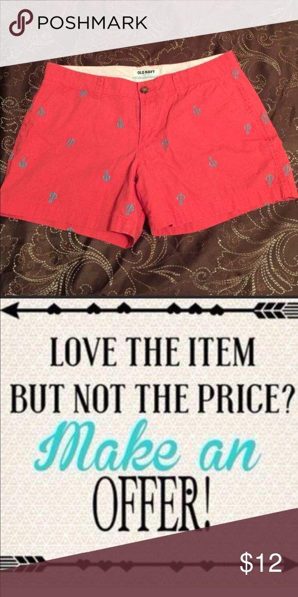 Old Navy Anchor Shorts so 8 ❤️offers welcome❤️ Super cute Old Navy pink shorts with real anchors. Smoke free home.  Next day shipping. Please feel free to answer any questions. Thank you for shopping my closet. Offers always welcome❤️ Old Navy Shorts