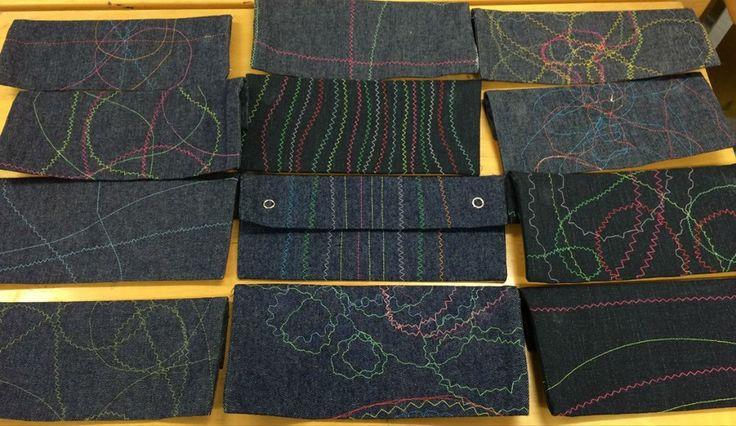 Teimme kolmosten kanssa penaalit/säilytyspussit ensimmäisenä ompelutyönä. Oli tosi tykätty työ, mukana myös suunnittelua ja kaikki oppivat vaihtamaan ylälangan. Lähde: FB/Riikka Tarsa)