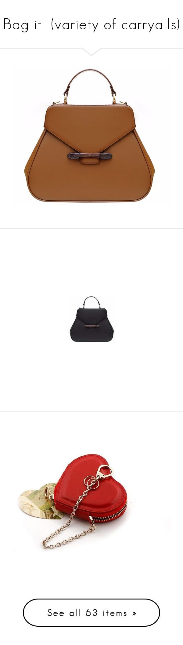 """""""Bag it  (variety of carryalls)"""" by idetached ❤ liked on Polyvore featuring bags, handbags, tote bags, tan tote, brown tote handbags, wooden purse, tan purse, tan handbags, wood purse and wood tote"""