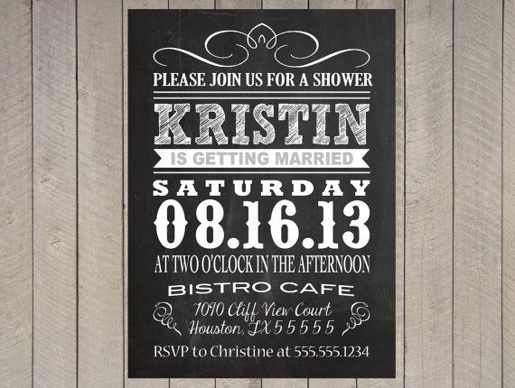 Chalkboard Menu Poster Vintage Bridal Baby Shower Invitation Typography